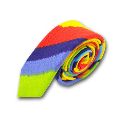 5cm Midnight Blue, Blue, Yellow, Dark Orange, Cobalt Blue, Yellow Green and Red Cotton-Linen Blend Striped Skinny Tie