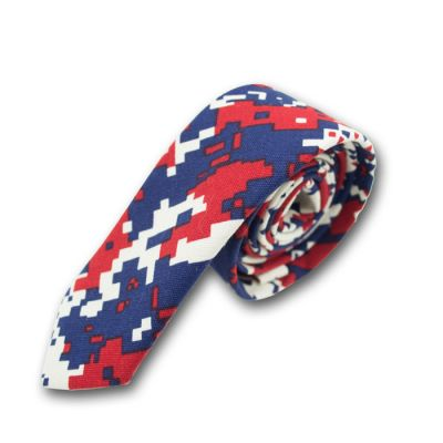 5cm Midnight Blue, Red and White Cotton-Linen Blend Novelty Skinny Tie