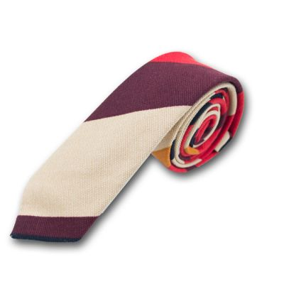 5cm BurlyWood, Bronze, Red, Burgundy and Black Polyester Striped Skinny Tie