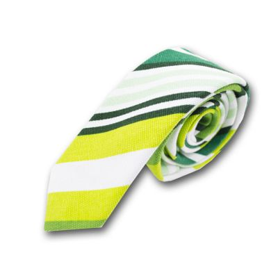 5cm Green, Tea Green, Pine Green, Dark Forest Green, Light Jade and White Polyester Striped Skinny Tie