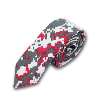 5cm Night, Gray Goose and Red Cotton-Linen Blend Novelty Skinny Tie