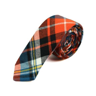 5cm Black, Gray Cloud, Bean Red, Taupe and White Cotton Plaid Skinny Tie