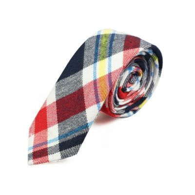 5cm Bean Red, Night, Grape, Blue Hosta, Yellow and White Cotton Plaid Skinny Tie