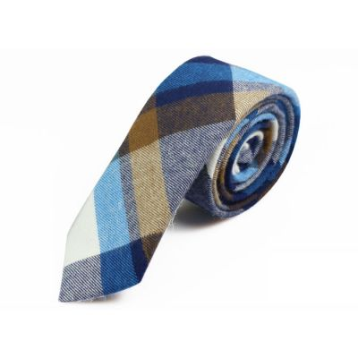 5cm Tiffany Blue, Night, White and Tea Green Cotton Plaid Skinny Tie