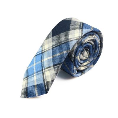 5cm Night, Platinum, Green and Gray Goose Cotton Plaid Skinny Tie