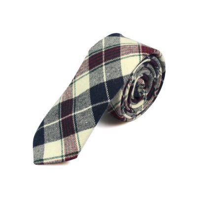 5cm Crystal Blue, White and Brown Cotton Plaid Skinny Tie
