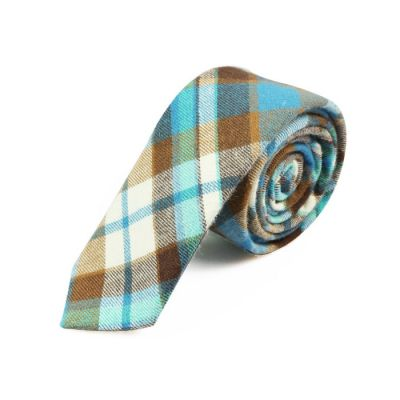 5cm Taupe, Gunmetal, White, Crystal Blue and Beer Cotton Plaid Skinny Tie