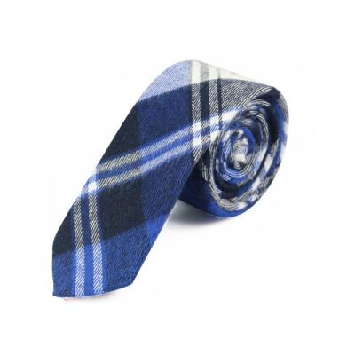 5cm Crystal Blue, Grape, Black and Gray Dolphin Cotton Plaid Skinny Tie
