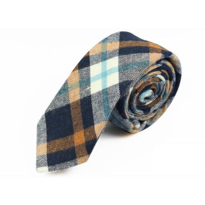 5cm Cantaloupe, Tiffany Blue, Grape and White Cotton Plaid Skinny Tie