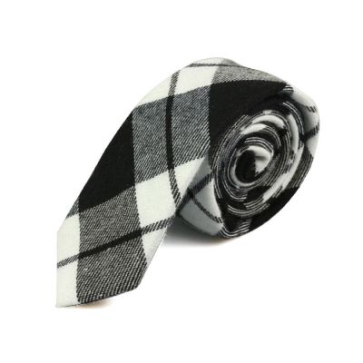 5cm Black, White and Baby Blue Cotton Plaid Skinny Tie