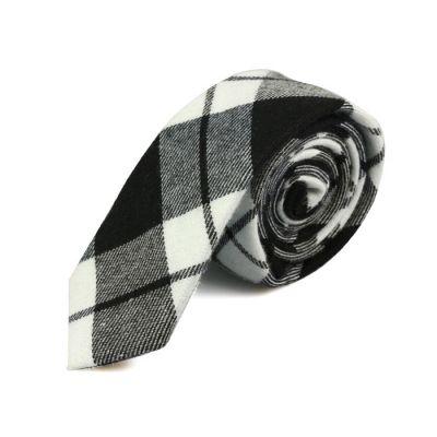 5cm 黑色、白色和灰藍色棉質格紋領帶