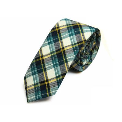 5cm Tiffany Blue, Black Eel, White and Yellow Cotton Plaid Skinny Tie
