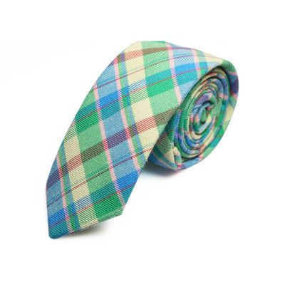 5cm Bean Red, Crystal Blue, Taupe, White, Tiffany Blue and Jade Green Cotton Plaid Skinny Tie