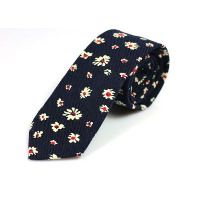 6cm Midnight Blue, White and Red Wine Cotton Floral Skinny Tie