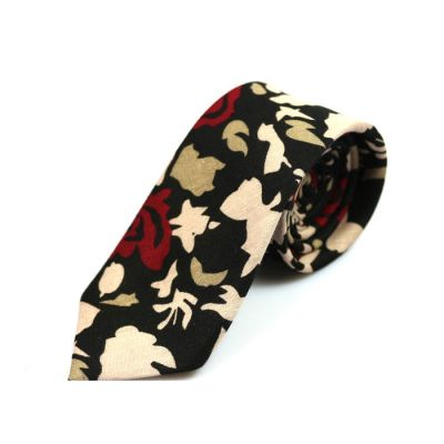 6cm 黑色、沙子色和午夜黑色棉質花紋圖案領帶