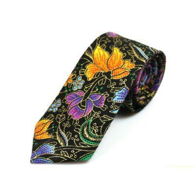 6cm 黃色、深灰色、黑色、窗口藍、中森林綠色和暗粉色棉質花紋圖案領帶