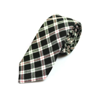 6cm Black, SeaShell, Midnight and Medium Forest Green Cotton Plaid Skinny Tie