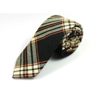 6cm 黑色、深橙色、貝殼色和灰藍色棉質格紋領帶
