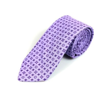 6cm Thistle and Jasmine Purple Cotton Novelty Skinny Tie