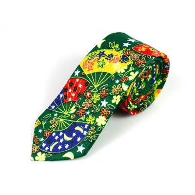 6cm Green, Sapphire Blue, Red, Yellow and White Cotton Novelty Skinny Tie