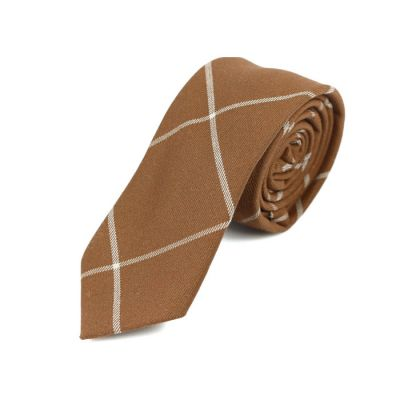 6cm Mahogany and White Cotton Checkered Skinny Tie