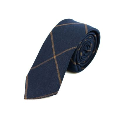 6cm Sapphire Blue and Sepia Cotton Checkered Skinny Tie