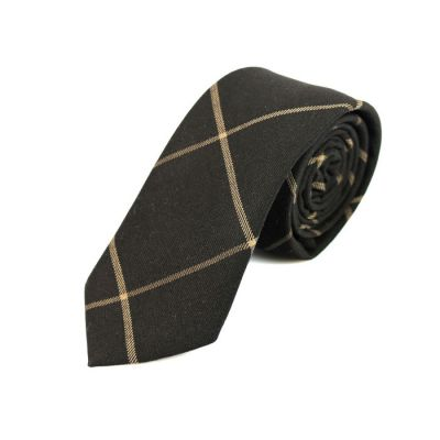 6cm Black Eel and Camel brown Cotton Checkered Skinny Tie