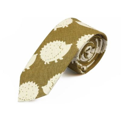 6cm Venom Green and SeaShell Cotton Novelty Skinny Tie
