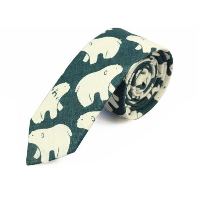 6cm Teal and SeaShell Cotton Novelty Skinny Tie