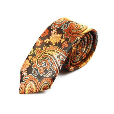 6cm Chestnut, Midnight, Pumpkin Orange and White Polyester Paisley Skinny Tie
