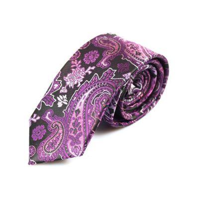 6cm Plum Velvet, Dark Orchid and White Polyester Paisley Skinny Tie