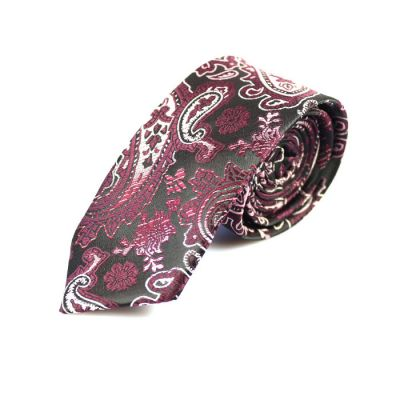 6cm Night, Firebrick and White Polyester Paisley Skinny Tie