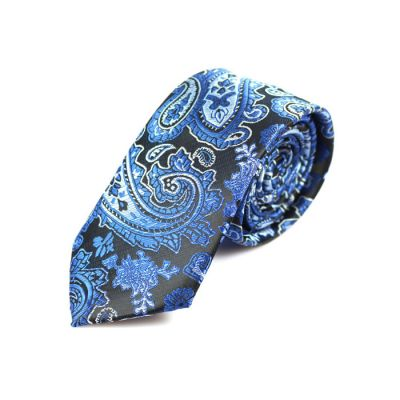 6cm Midnight Blue, Blueberry Blue and White Polyester Paisley Skinny Tie