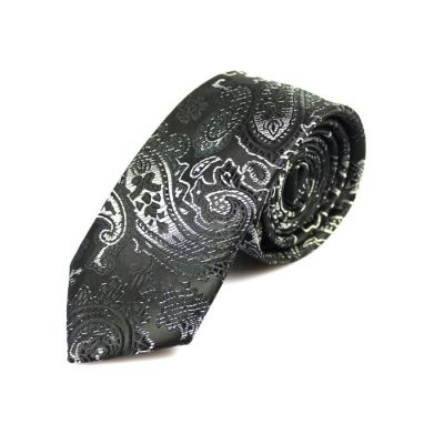 6cm Black Eel and SeaShell Polyester Paisley Skinny Tie