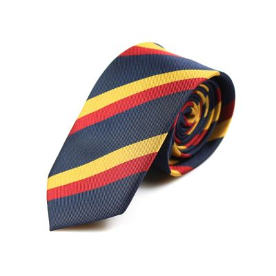 6cm Yellow, Midnight Blue and Ferrari Red Polyester Striped Skinny Tie