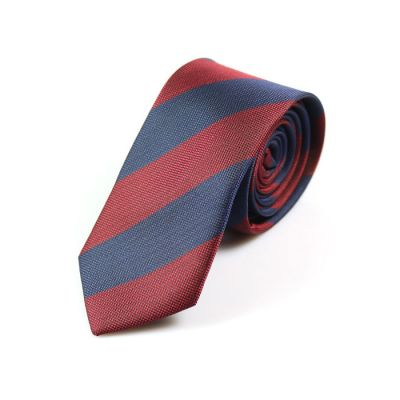 6cm Ferrari Red and Midnight Blue Polyester Striped Skinny Tie