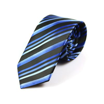 6cm Midnight Blue, White, Blue Eyes and Black Polyester Striped Skinny Tie