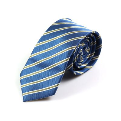 6cm Blueberry Blue, White and Black Polyester Striped Skinny Tie