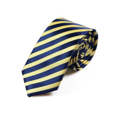 6cm Sun Yellow and Navy Blue Polyester Striped Skinny Tie