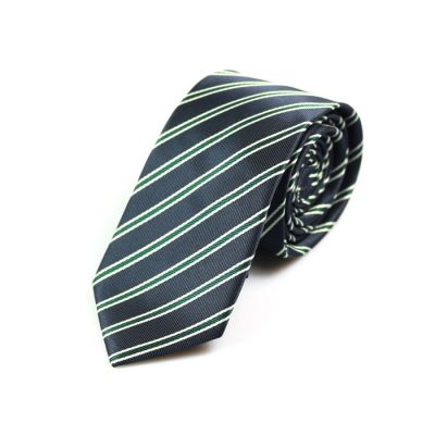 6cm Midnight Blue, Teal and SeaShell Polyester Striped Skinny Tie