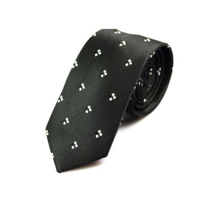 6cm Night and White Polyester Novelty Skinny Tie