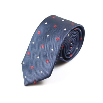 6cm Midnight Blue, Ferrari Red and White Polyester Novelty Skinny Tie