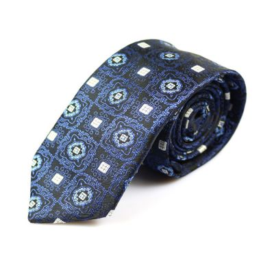6cm Black, Navy Blue and White Polyester Paisley Skinny Tie