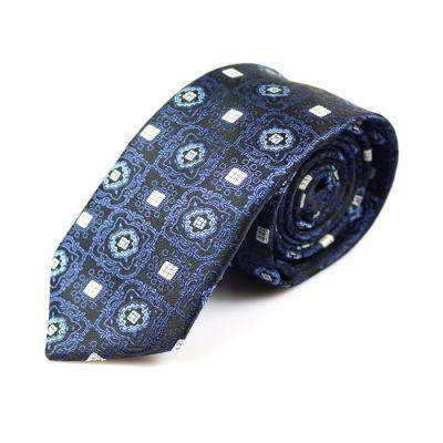 6cm Black, Navy Blue and White Polyester Paisley Skinny Tie