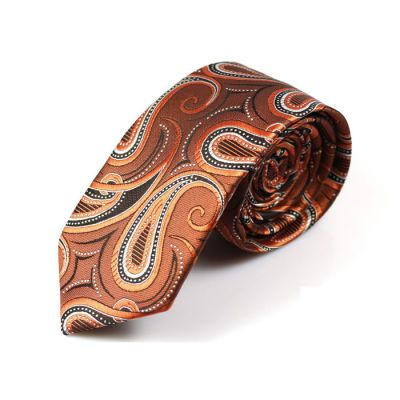 6cm Peach, Midnight, Chestnut and Pumpkin Orange Polyester Paisley Skinny Tie