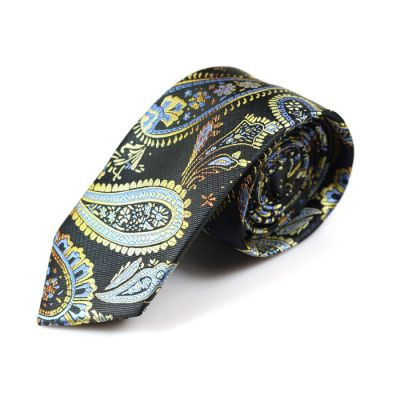 6cm Midnight Blue, Cobalt Blue, Tiffany Blue and Mustard Polyester Paisley Skinny Tie