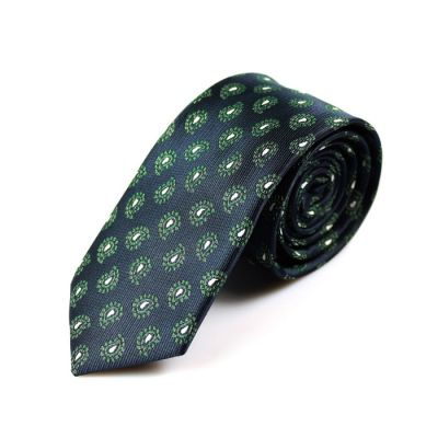 6cm Midnight Blue, Dark Forest Green and White Polyester Paisley Skinny Tie