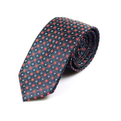 6cm Midnight Blue, Red and White Polyester Floral Skinny Tie