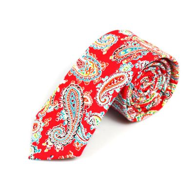 6cm Red, Teal, SeaShell and Yellow Cotton Paisley Skinny Tie
