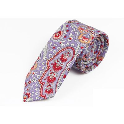 6cm Grape, Red, Peach and SeaShell Cotton Paisley Skinny Tie